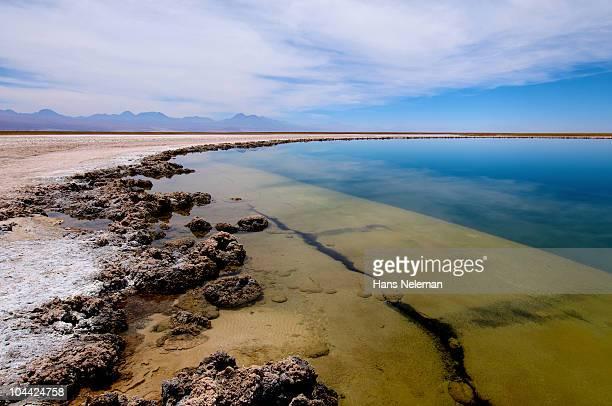 Chile, Atacama, Salty lagoon in Atacama Salar
