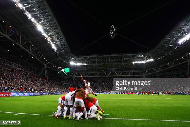 Chile celebrate after the penalty shoot out following the FIFA Confederations Cup Russia 2017 SemiFinal match between Portugal and Chile at Kazan...