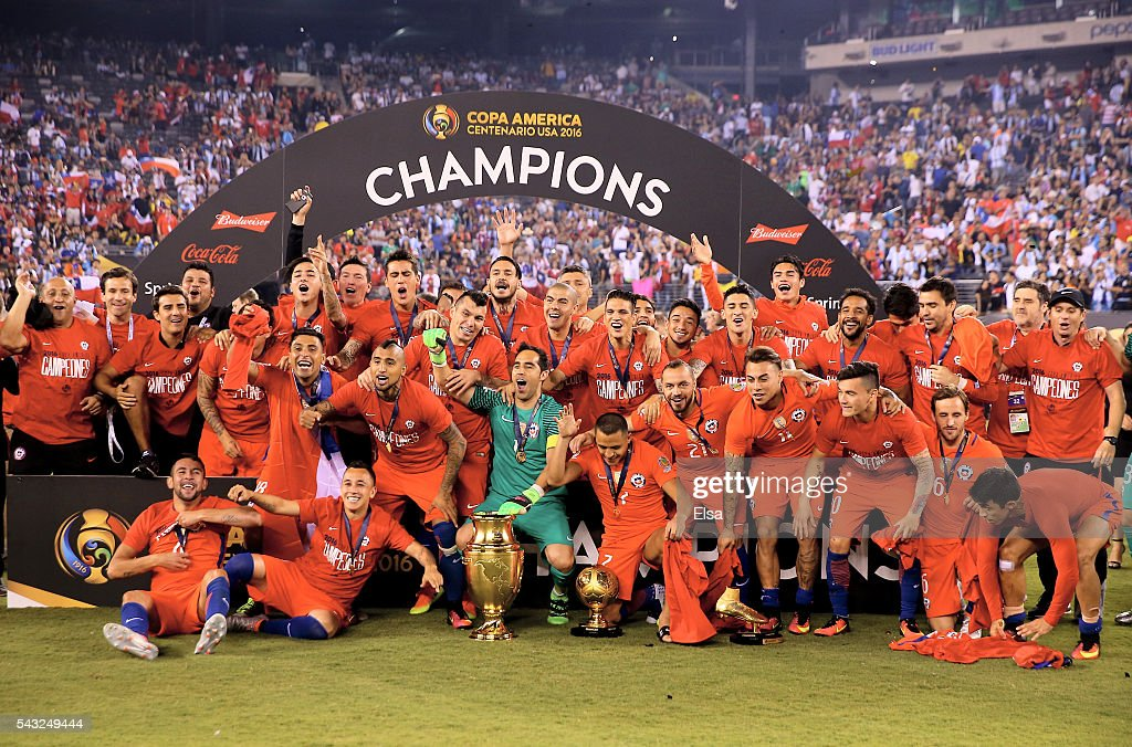 Chile celebrates the win over Argentina during the Copa America Centenario Championship match at MetLife Stadium on June 26, 2016 in East Rutherford, New Jersey.Chile defeated Argentina 0-0 with the 4-2 win in the shootout.