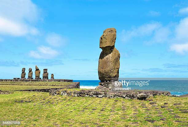 Chile, Easter Island, Hanga Roa, moais in the Tahai Ceremonial Complex