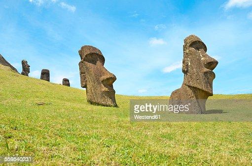 Chile, Easter Island, Moai stone heads in Rano Raraku quarry, Rapa Nui National Park