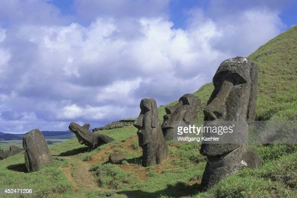 Chile Easter Island Rano Raraku Quarry Moai Statues On Hill