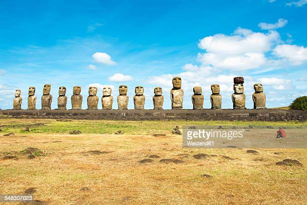 Chile, Easter Island, row of moais at Ahu Tongariki