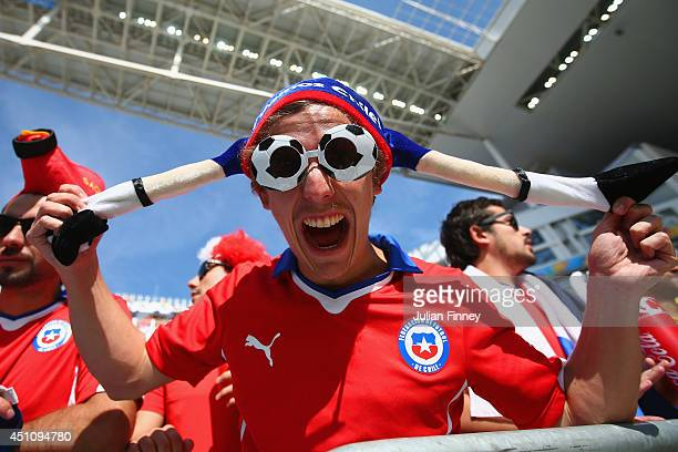 Chile fan poses prior to the 2014 FIFA World Cup Brazil Group B match between the Netherlands and Chile at Arena de Sao Paulo on June 23 2014 in Sao...