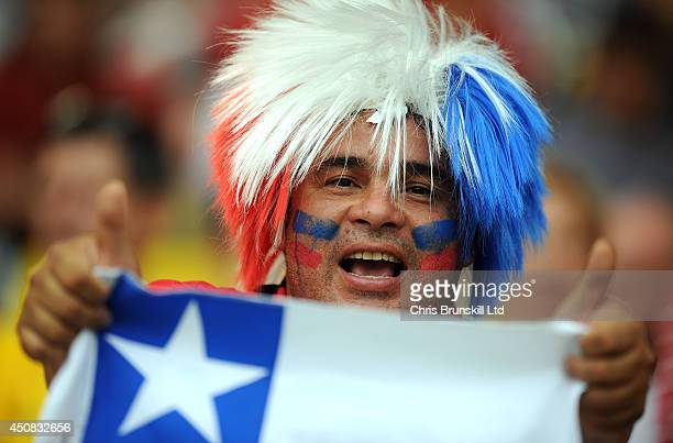 Chile fan supports his team during the 2014 FIFA World Cup Brazil Group B match between Spain and Chile at Maracana Stadium on June 18 2014 in Rio de...