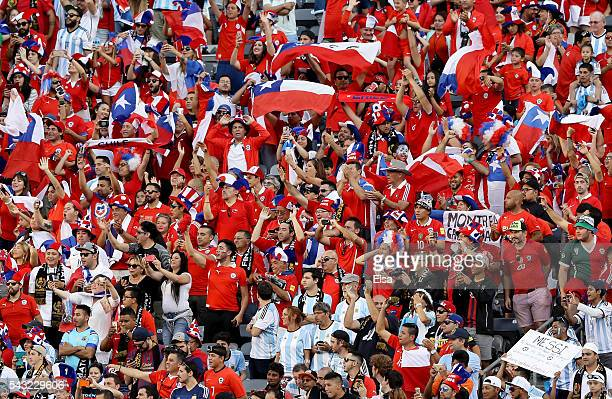 Chile fans celebrate as their team heads out for warm ups before the Copa America Centenario Championship match at MetLife Stadium on June 26 2016 in...
