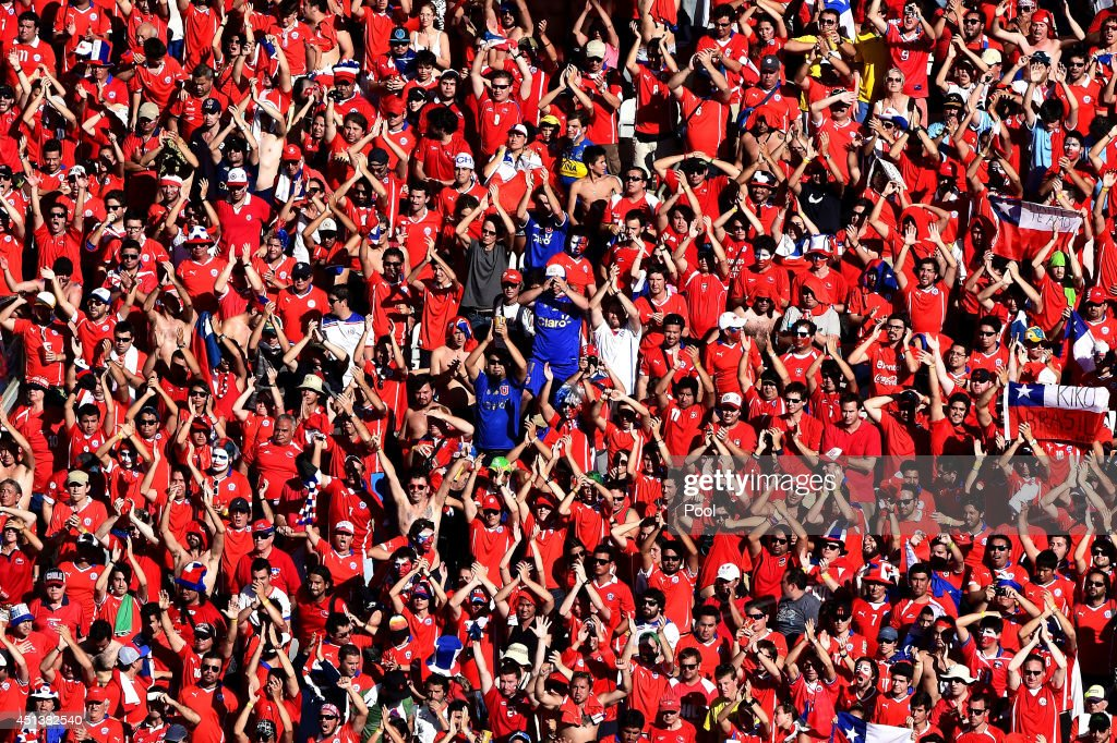 Chile fans cheer during the 2014 FIFA World Cup Brazil round of 16 match between Brazil and Chile at Estadio Mineirao on June 28 2014 in Belo...