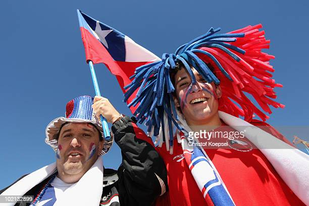 Chile fans enjoy the atmosphere ahead of the 2010 FIFA World Cup South Africa Group H match between Honduras and Chile at the Mbombela Stadium on...