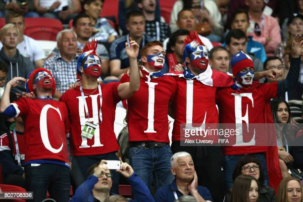 Chile fans enjoy the atmosphere during the FIFA Confederations Cup Russia 2017 SemiFinal between Portugal and Chile at Kazan Arena on June 28 2017 in...