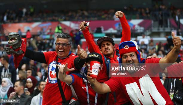 Chile fans enjoy the pre match atmosphere prior to the FIFA Confederations Cup Russia 2017 Group B match between Germany and Chile at Kazan Arena on...