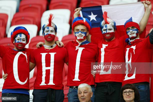 Chile fans enjoy the pre match atmosphere prior to the FIFA Confederations Cup Russia 2017 SemiFinal between Portugal and Chile at Kazan Arena on...