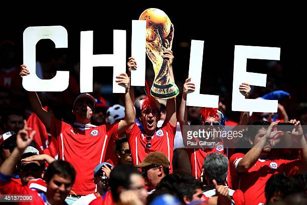 Chile fans look on prior to the 2014 FIFA World Cup Brazil round of 16 match between Brazil and Chile at Estadio Mineirao on June 28 2014 in Belo...