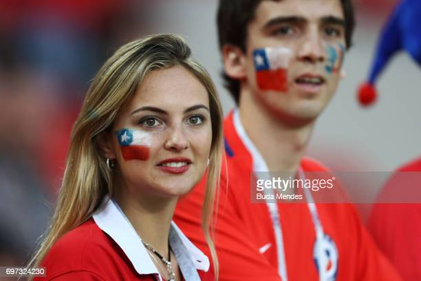Chile fans looks on prior to the FIFA Confederations Cup Russia 2017 Group B match between Cameroon and Chile at Spartak Stadium on June 18 2017 in...