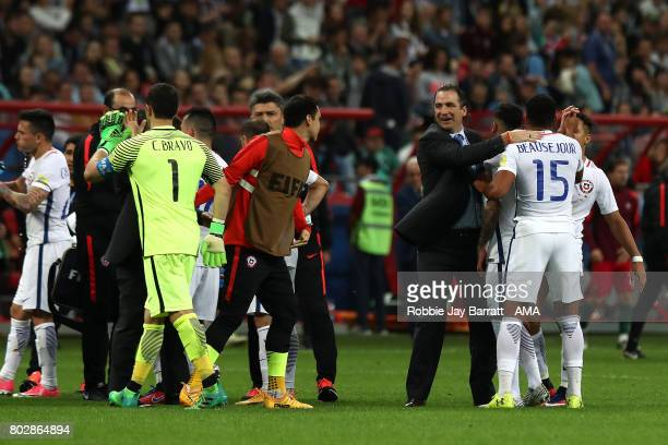 Chile Head Coach / Manager Juan Antonio Pizzi congratulates his players after they won a penalty shootout during the FIFA Confederations Cup Russia...