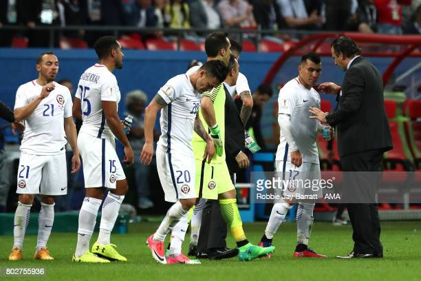 Chile Head Coach / Manager Juan Antonio Pizzi gives orders to his players prior to the second half of extra time during the FIFA Confederations Cup...