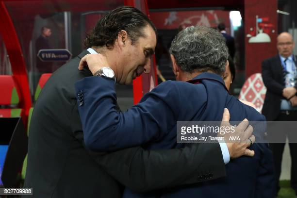 Chile Head Coach / Manager Juan Antonio Pizzi greets Portugal Manager / Head Coach Fernando Santos prior to the FIFA Confederations Cup Russia 2017...
