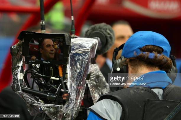 Chile Head Coach / Manager Juan Antonio Pizzi is seen on a TV camera screen prior to the FIFA Confederations Cup Russia 2017 SemiFinal match between...