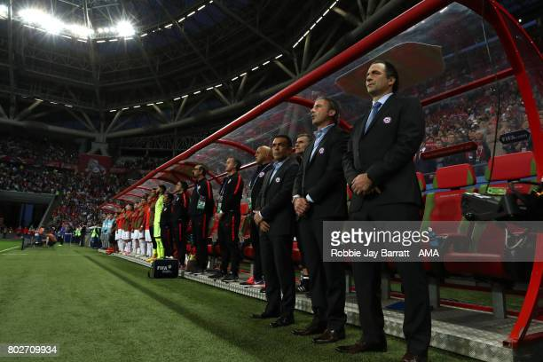 Chile Head Coach / Manager Juan Antonio Pizzi stands for the anthems prior to the FIFA Confederations Cup Russia 2017 SemiFinal match between...