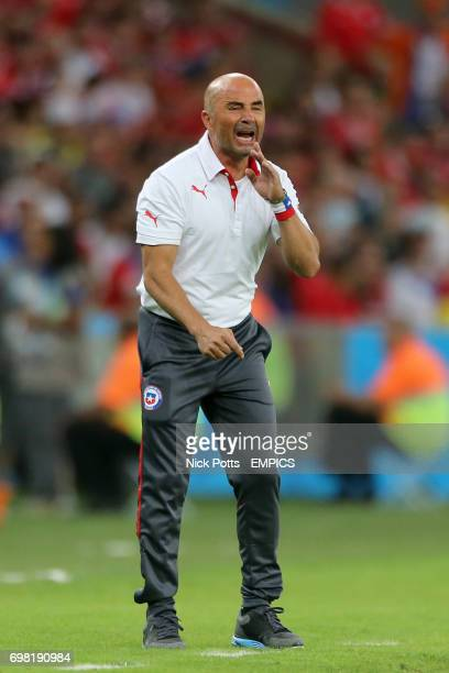 Chile manager Jorge Sampaoli shouts instructions on the touchline