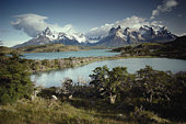 Chile, Patagonia, Torres del Paine National Park, Lake Pehoe and Andes
