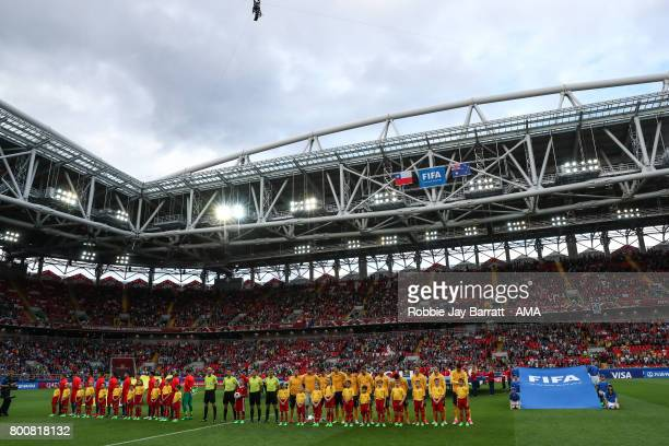 Chile players and Australia players line up for the national anthems during the FIFA Confederations Cup Russia 2017 Group B match between Chile and...