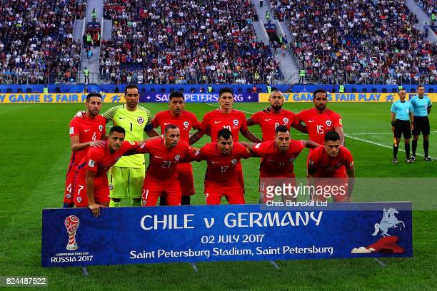 Chile pose for a team photograph before the FIFA Confederations Cup Russia 2017 Final match between Chile and Germany at Saint Petersburg Stadium on...