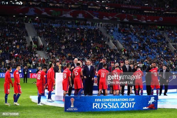 Chile receive their runners up medals following the FIFA Confederations Cup Russia 2017 Final match between Chile and Germany at Saint Petersburg...
