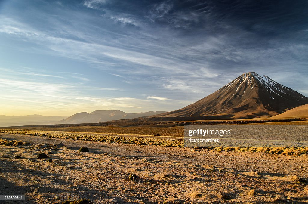 Chile, San Pedro de Atacama, Licancabur volcano at sunset : Photo