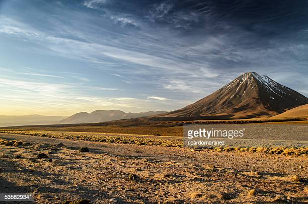 Chile, San Pedro de Atacama, Licancabur volcano at sunset