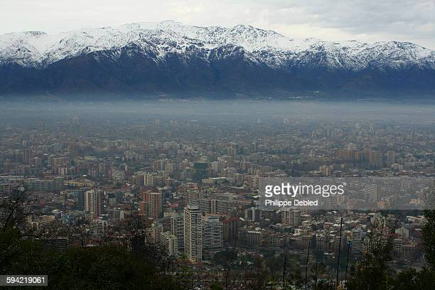 Chile, Santiago, city skyline and Andes Mountains