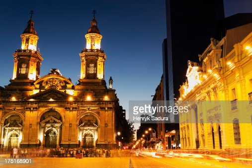 Chile, Santiago de Chile, Illuminated Plaza de Armas in capital city