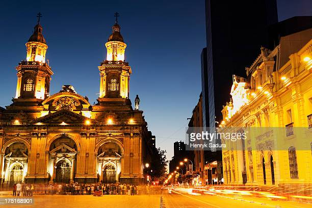 Chile, Santiago de Chile, Illuminated Plaza de Armas in capital city