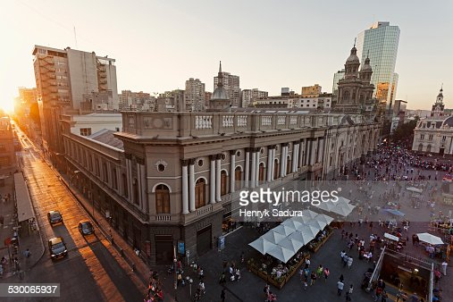 Chile, Santiago, Elevated view of Plaza Mayor