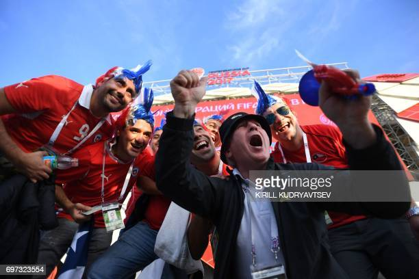 Chile supporters cheer as they arrive for the 2017 Confederations Cup group B football match between Cameroon and Chile at the Spartak Stadium in...