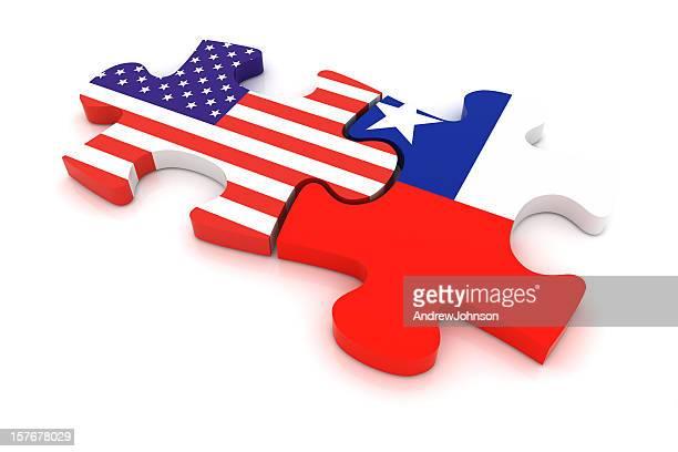 Chile USA Puzzle Concept