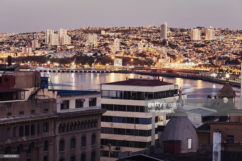 Chile, Valparaiso, Cityscape at sunset