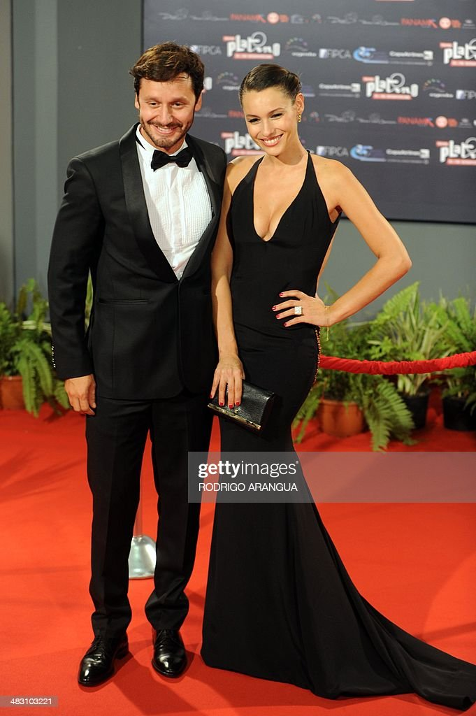 Chilean actor Benjamin Vicuna and his wife Argentinian model Carolina 'Pampita' Ardohain arrive for the first edition of the IberoAmerican films...