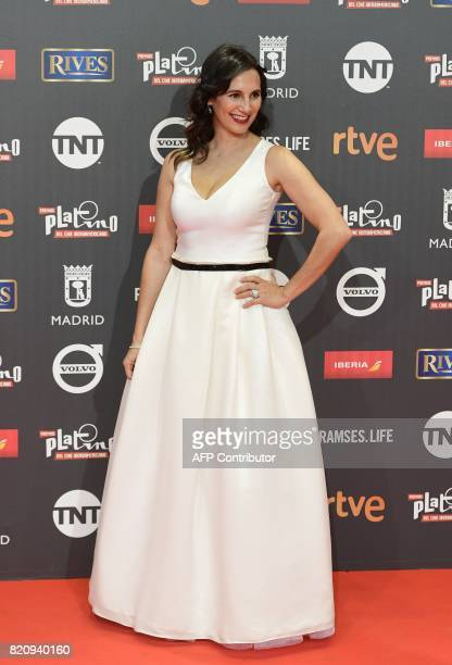 Chilean actress Blanca Lewin poses on the red carpet during the 4th edition of the 'Premios Platino' for IberoAmerican Cinema awards ceremony in...