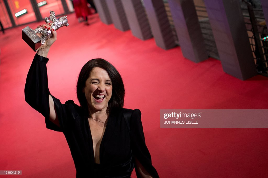 Chilean actress Paulina Garcia holds the Silver Bear for Best Actress she received for the film 'Gloria' after the awards ceremony of the 63rd...