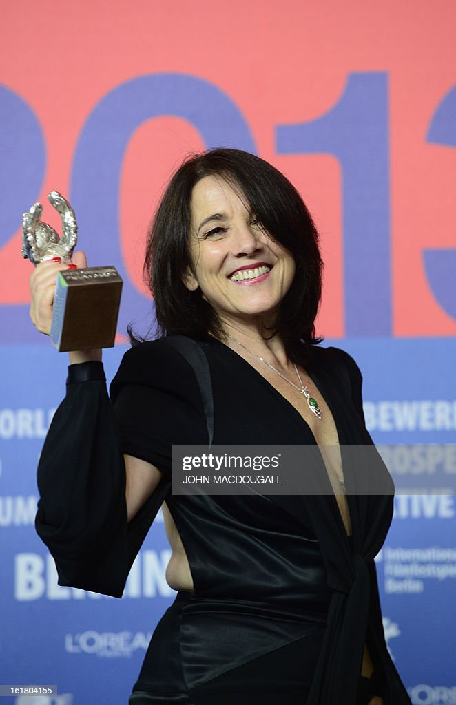 Chilean actress Paulina Garcia winner of the Silver Bear award for Best Actress for the movie 'Gloria' attends a press conference after the awards...