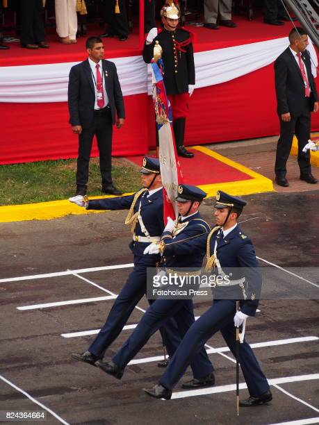 Chilean air force officers marching on Military parade commemorating 196th anniversary of Peruvian independence