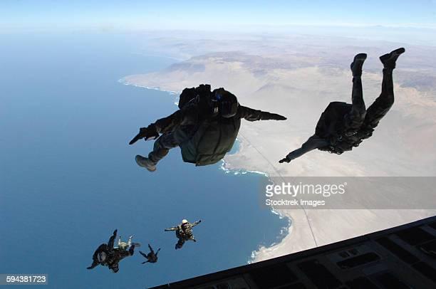 Chilean and U.S. pararescuemen jump near Iquique, Chile.
