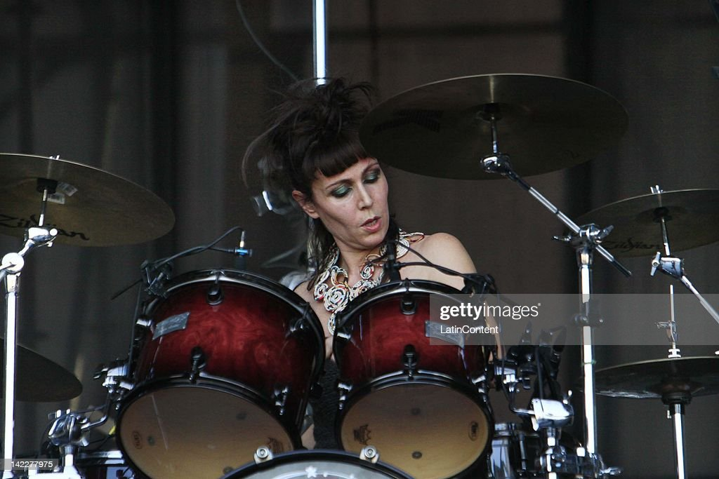 Chilean drummer Juanita Parra of Los Jaivas performs live on stage during the 2012 Lollapalooza Music Festival at OHiggins Park on Marchl 31, 2012 in Santiago, Chile.