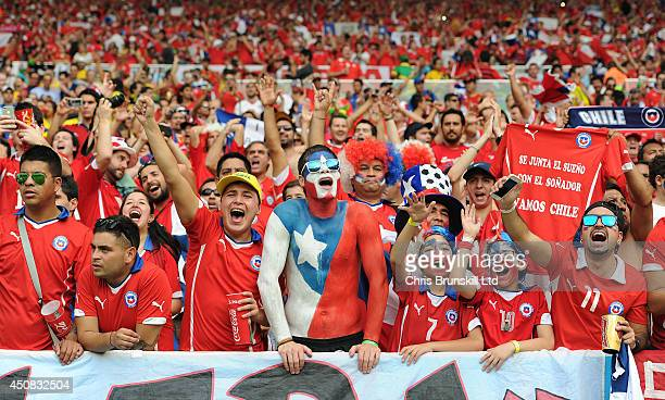 Chilean fans support their team during the 2014 FIFA World Cup Brazil Group B match between Spain and Chile at Maracana Stadium on June 18 2014 in...