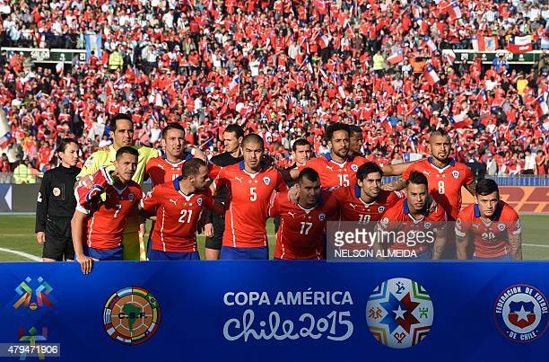 Chilean footballers pose for photographers before the start of the 2015 Copa America football championship final Argentina vs Chile in Santiago Chile...
