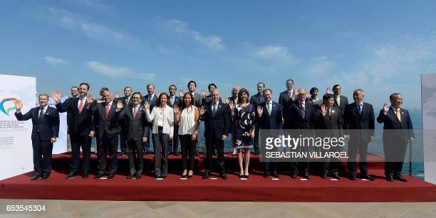 Chilean Foreign Minister Heraldo Munoz poses with ministers and authorities attending the Pacific Alliance Ministers' Summit in Vina del Mar Chile on...