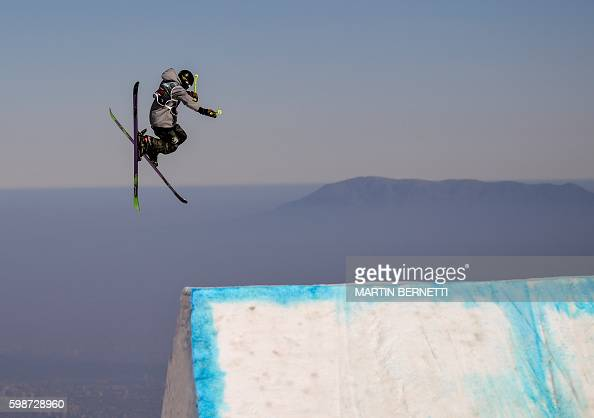 TOPSHOT Chilean Francisco Salas jumps during the Freestyle Ski Big Air FIS World Cup 2016 Qualification competition in El Colorado some 45 km east of...