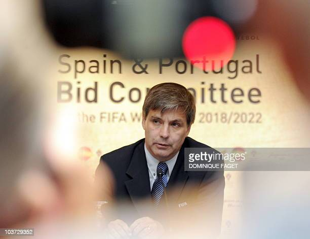 Chilean Harold MayneNicholls Chief of the FIFA inspection group holds a press conference in Madrid on August 30 during a visit by FIFA delegates...