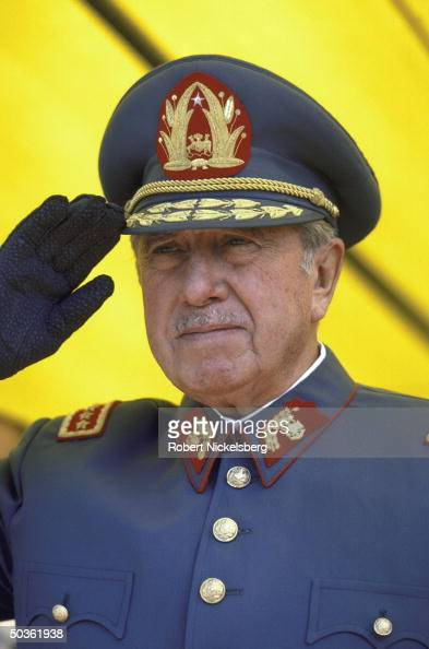 Chilean Leader General Augusto Pinochet a closeup in uniform and saluting at an unspecified event