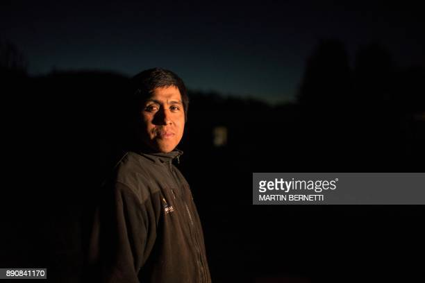 Chilean Mapuche Ramon Llanquileo poses at his home in in Temulemu Temuco on November 9 2017 The Mapuches which represent about 7% of the Chilean...